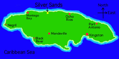 Map of Jamaica showing the location of Silver Sands on the North Coast. Click here to get a Free Road Map of Jamaica.