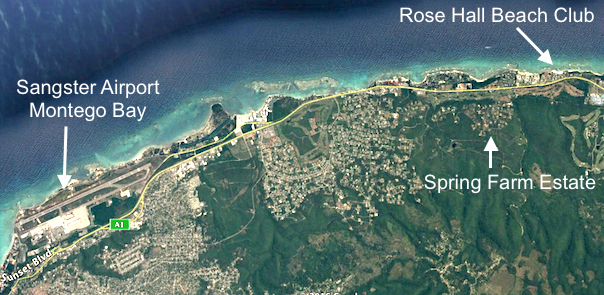 Spring farm estate hillside villa development in jamaica google earth view from sangster airport to rose hall beach club gumiabroncs Images