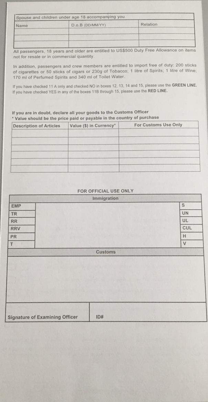 Jamaica's Immigration/Customs C5 Card