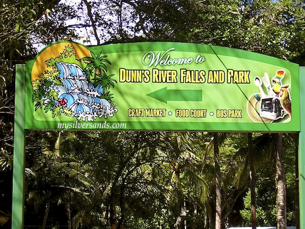 sign for dunn''s river falls in jamaica