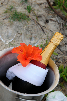 champagne for destination wedding on the beach