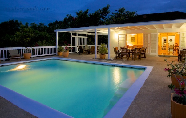honeycomb villa at night with private pool at silver sands jamaica