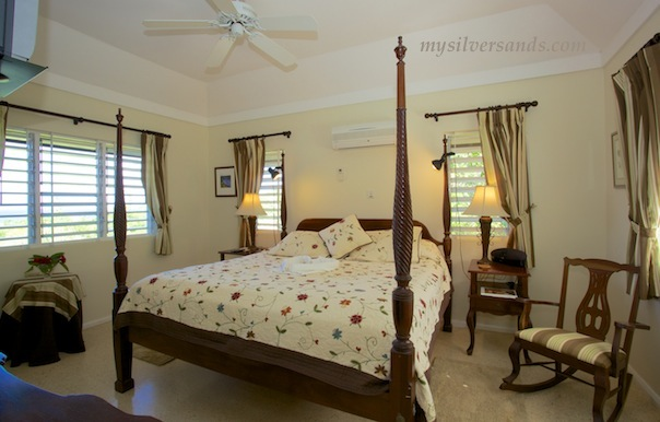 master bedroom of seascape villa at silver sands jamaica