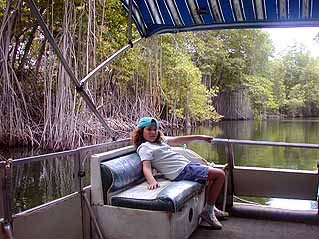 comfortable boat on the black river