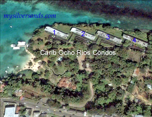 carib ocho rios condos and beach by google earth view