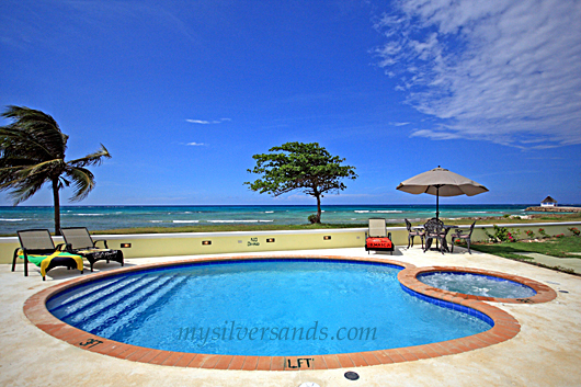 eirie blue villa, silver sands jamaica, pool and sea view