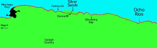 Silver sand location map, Jamaica