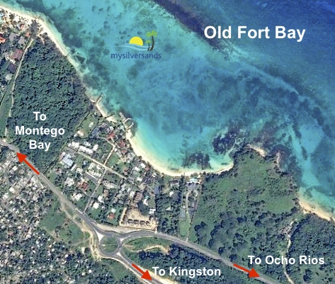 map showing old fort bay and road to montego bay and echo rios