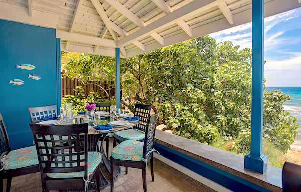 dining on the verandah with a sea view