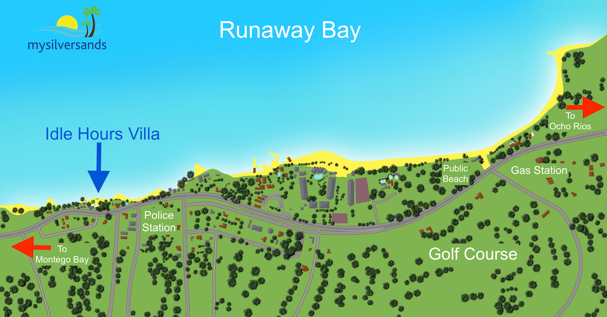 map of runaway bay pointing out idle hours villa