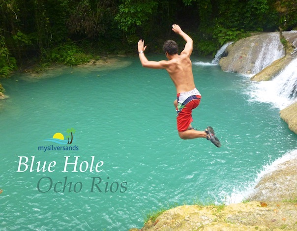 jumping into Blue Hole in Ocho Rios