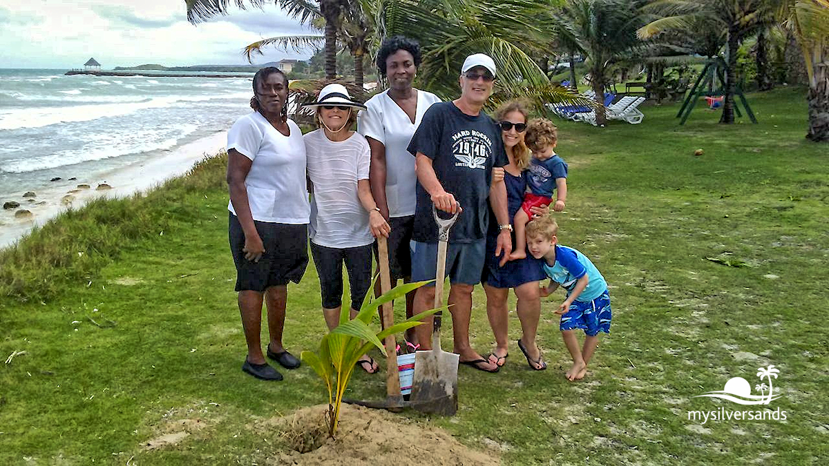 family with endless summer staff, planting coconut tree