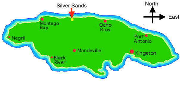 map of jamaica with major towns