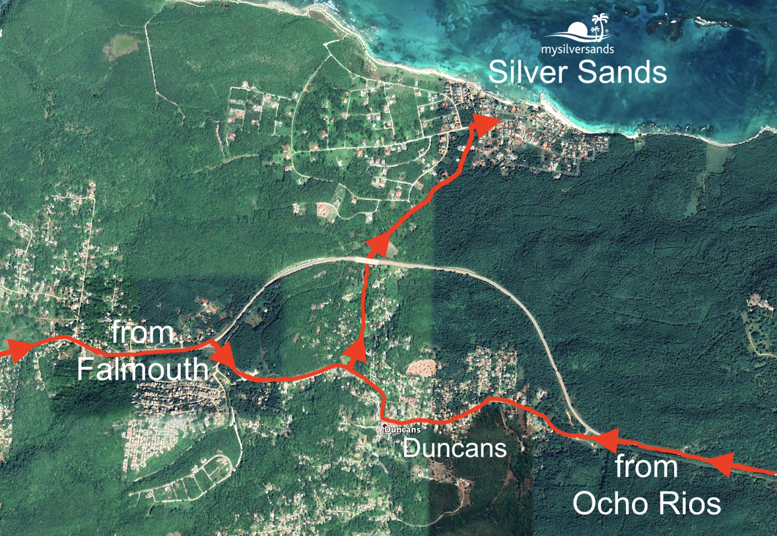 Map showing location of Silver Sands