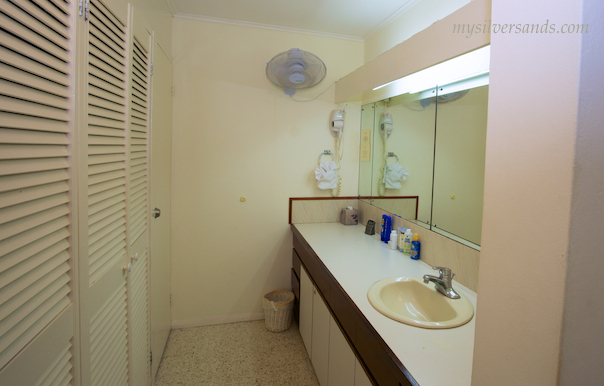 basin area of bath at honeycomb villa silver sands jamaica