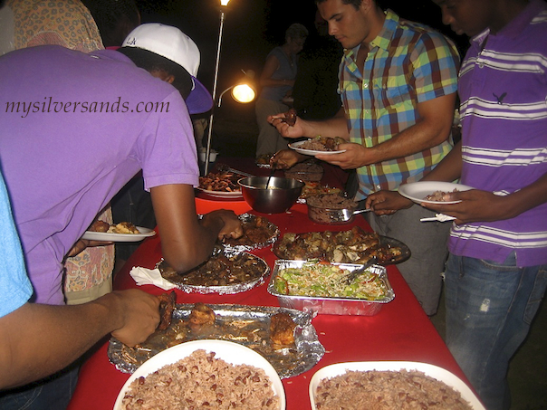 buffet spread at usd farewell party silver sands jamaica 2011