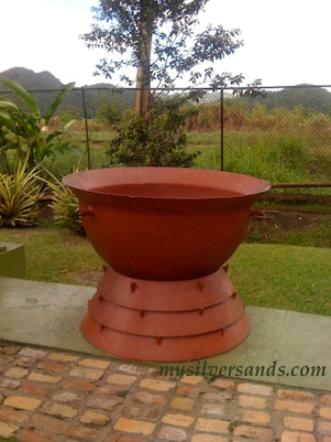 copper pot used during the rum making process on the appleton tour