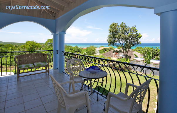 balcony off bedroom 5 of blue moon villa in silvwer sands jamaica