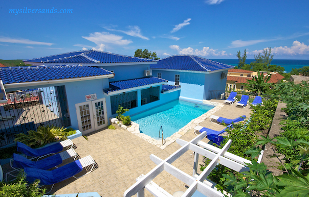 pool and sea view of blue moon villa silver sands jamaica