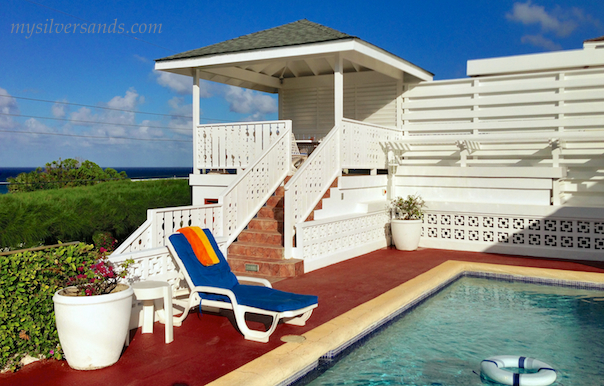 close up of gazebo and pool at blue vista villa in jamaica