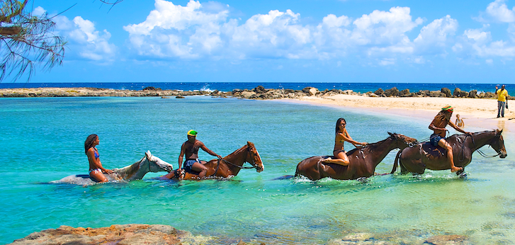 braco stables horseback riding tour featruring the sea swim on bareback