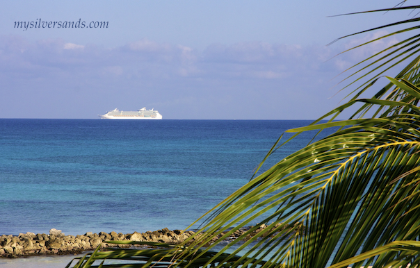 cruise ship sailing past silver sands jamaica on its way to falmouth