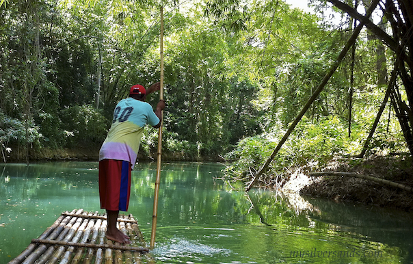 captain on bamboo raft on martha brae river jamaica