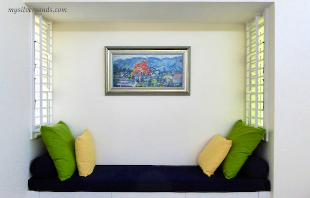 bench in alcove of bedroom two