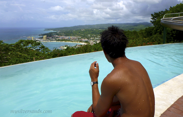 lal enjoys the view of Ocho Rios and the coastline to the East from the pool deck