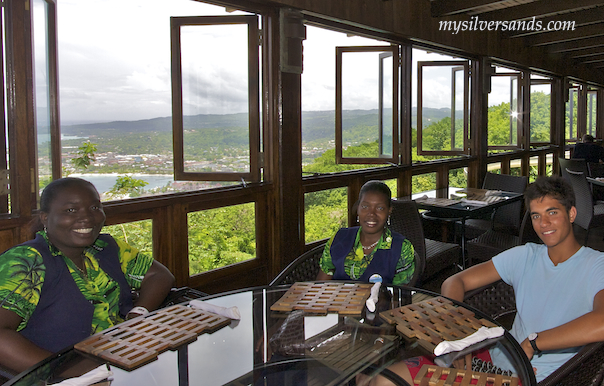 view from the restaurant at mystic mountain in jamaica