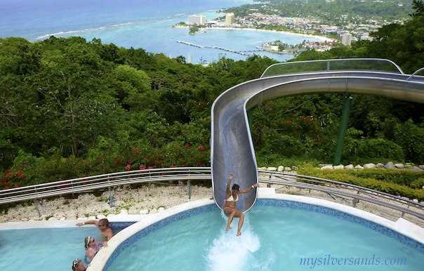 asha hurtling down the water slide at mystic mountain in ocho rios