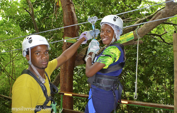 kimesha getting ready to go on the zipline canopy tour at mystic mountain jamaica