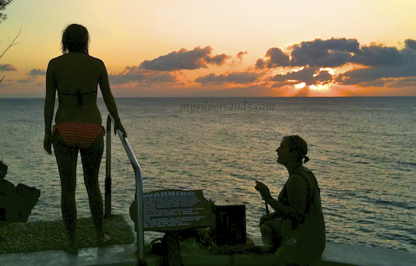 thinking about jumping off the cliff at Rick's Cafe' Negril Jamaica