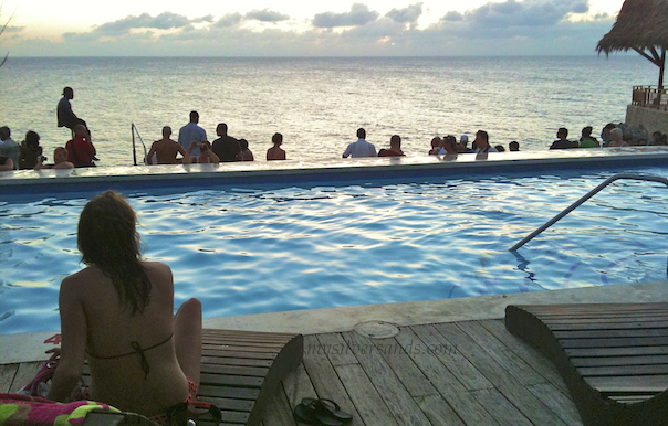 pool and sunset sea view at rick's cafe' negril jamaica