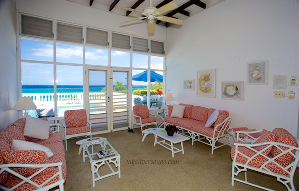 living room and sea view at oh boy villa in silver sands jamaica