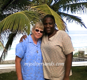 pam sperry with nadine, cook at queen's cottage at silver sands jamaica