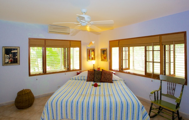 rock hill villa is furnished with a king bed