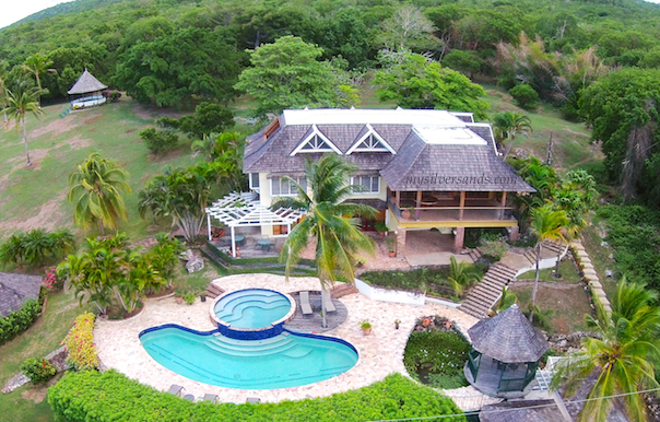 rock hill villa with the park and gazebo from the air