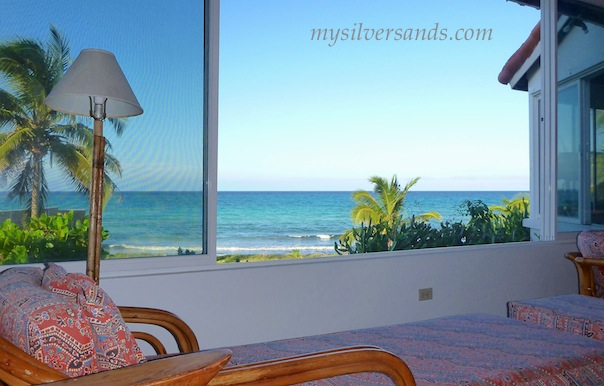fabulous sea views through the large windows at roots cottage in silver sands jamaica