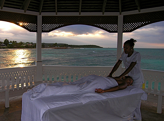 spa massage on gazebo at silver sands villas jamaica