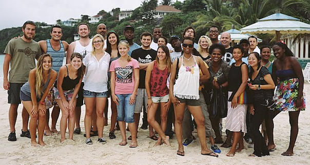 university of san diego team on the silver sands beach in jamaica in 2011