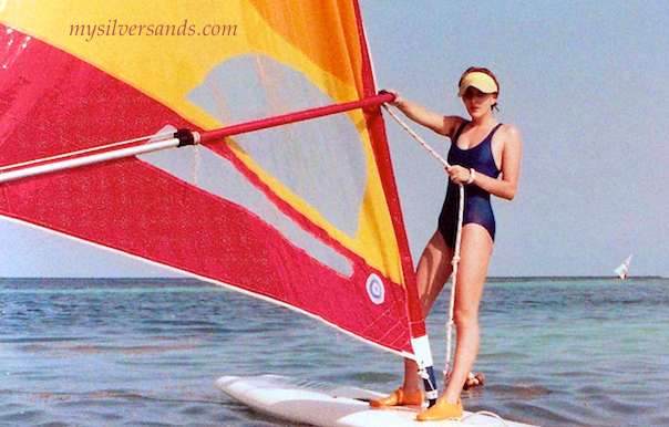 starting off windsurfing in jamaica on vacation
