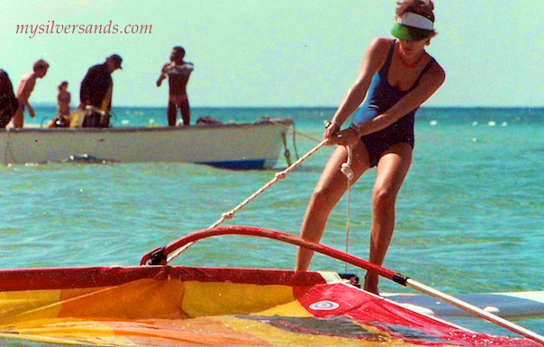 uphauling a windsurfer in jamaica