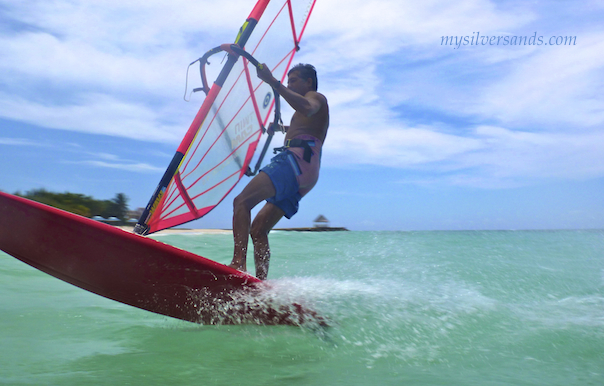 windsurfing on vacation at silver sands jamaica villas
